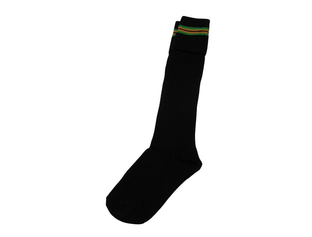Black with green and yellow stripes socks