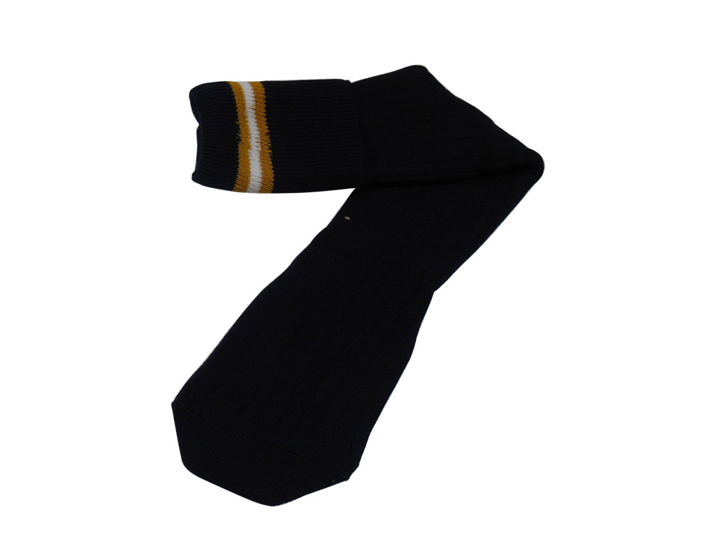 Black with mustard and white stripes socks