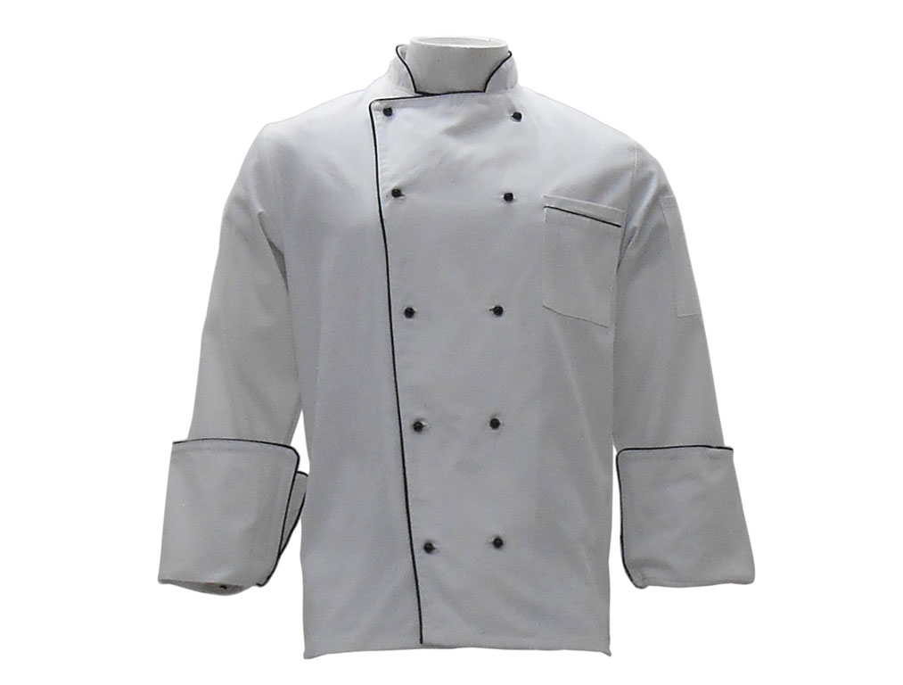 Chef Jacket White with Black Piping